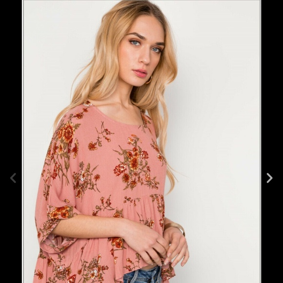 49640fb092b6bc FLORAL MULTI PEACH HIGH LOW ROUND NECK TOP